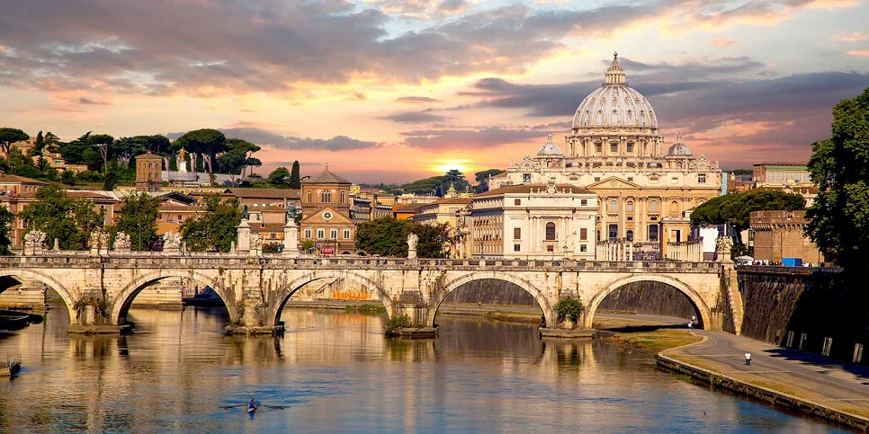 View of Basilica di San Pietro in Vatican, Rome, Capital city of  Italy